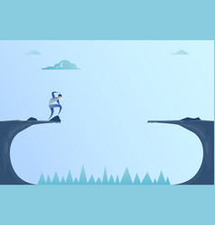 business man standing on edge of cliff gap problem vector image