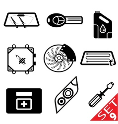 car part icon set 9 vector image vector image