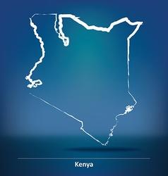 Doodle map of kenya vector