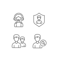 Female support group and search profile icons vector