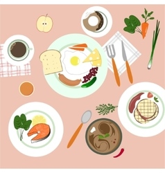 Food in flat style top view vector