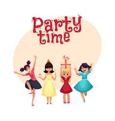 four various girls in colorful dresses having fun vector image vector image