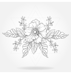 Freehand boho tattoo blackwork flower in hipster vector