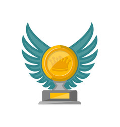 Golden trophy cup with glassy wings icon vector