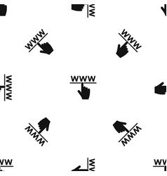 hand cursor and website pattern seamless black vector image
