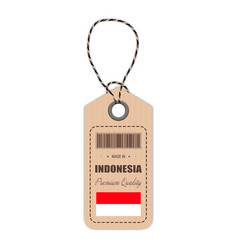 hang tag made in indonesia with flag icon isolated vector image