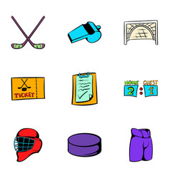 Hockey sport icons set cartoon style vector