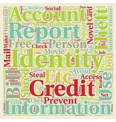 Identity theft you can prevent it text background vector