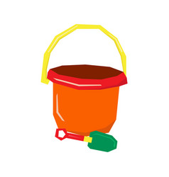 isolated sand bucket and shovel vector image vector image