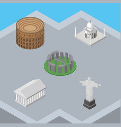 Isometric attraction set of rio athens coliseum vector