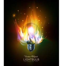light bulb with a burning fire vector image vector image