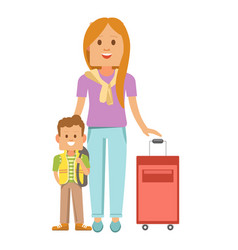 mother and son with suitcase ready to travel vector image