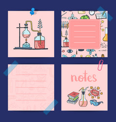 notes templates set with sketched science vector image