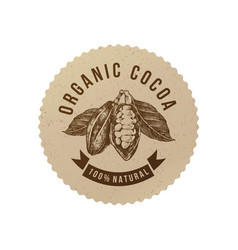 organic cocoa round label in vintage style vector image vector image