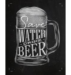 Poster drink beer chalk vector