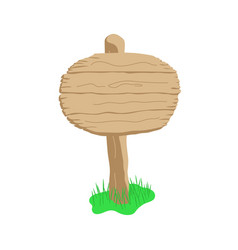 Round shape cartoon wooden sign isolated on white vector