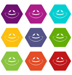 sea hat icon set color hexahedron vector image vector image