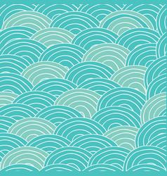 seamless handmade pattern with cyan sea waves vector image vector image