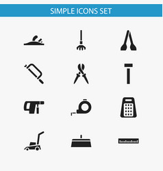 set of 12 editable tools icons includes symbols vector image vector image