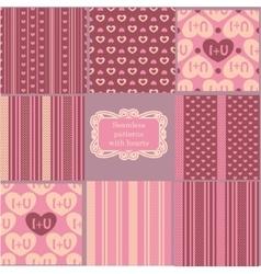 Set of pink vintage patterns vector image vector image