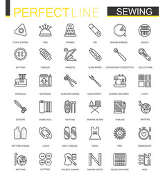 sewing equipment thin line web icons set outline vector image