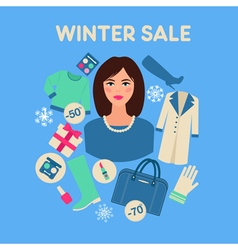 Shopping winter sale in flat design with woman vector