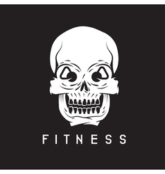 skull with kettlebells in eyes fitness concept vector image