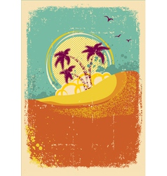 Tropical island on vintage old background with vector
