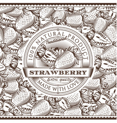 vintage strawberry label on seamless pattern vector image