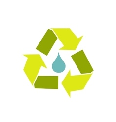 Water drop with recycle symbol vector image