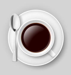 White cup of coffee with spoon on saucer on grey vector