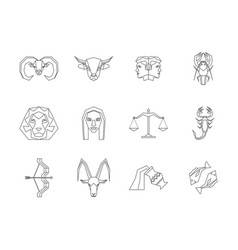 Zodiac symbol thin line design style icons set vector