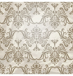Vintage wallpaper pattern on crumpled paper vector