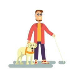 Blind person with guide dog vector