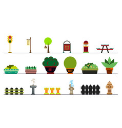 city and outdoor elements lamppost and container vector image