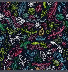 seamless pattern with birds flowers vector image