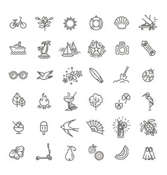 Outline web icon set - summer vacation beach vector