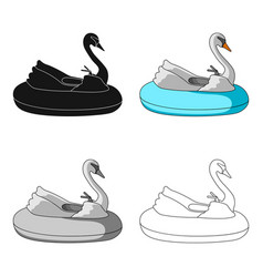 a boat for children in the shape of a swan vector image