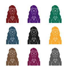 A hippie girl with glasses with beadshippy single vector