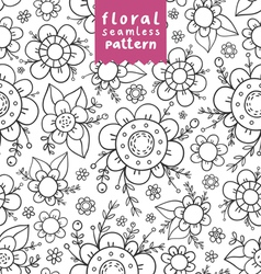 Flowers doodle pattern vector