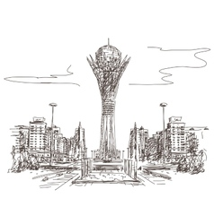 Bayterek tower in astana vector