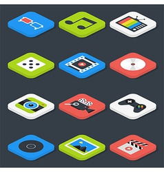 Flat multimedia video audio isometric icons set vector
