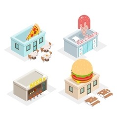 Restaurant cafes and fast food shop icons vector