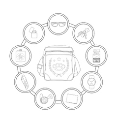 Student shoulder bag contents contour vector