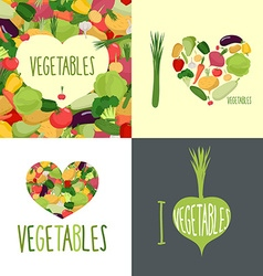 I love vegetables Set of logos for food lovers vector image
