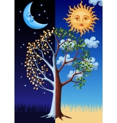 Tree sun and moon vector
