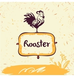 Hand drawn rooster on shield vector