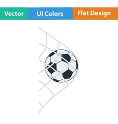 Flat design icon of football ball in gate net vector