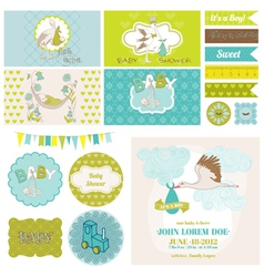 Baby shower stork theme set vector