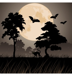 big yellow moon and silhouettes of trees vector image vector image